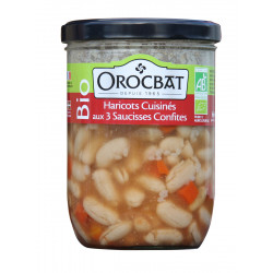 Haricots cuisinés aux trois saucisses confites Bio
