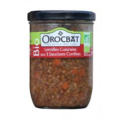 Lentilles cuisinées aux trois saucisses confites Bio