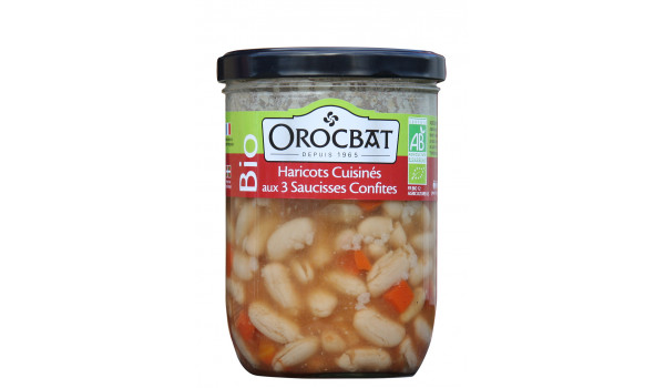 Organic Beans cooked with three Candied Sausages