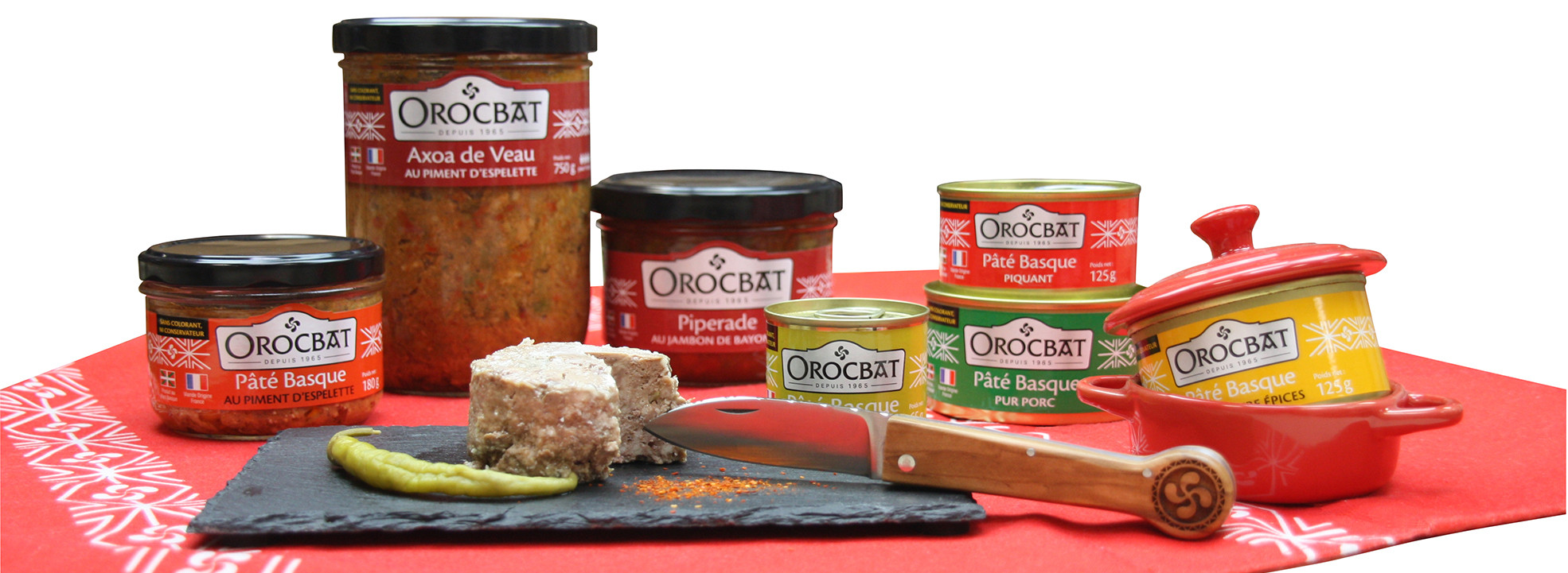 Selection of Basque pâtés and ready meals